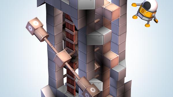 Screenshot: Ein Roboter fällt von einem Turm aus Bauklötzen.