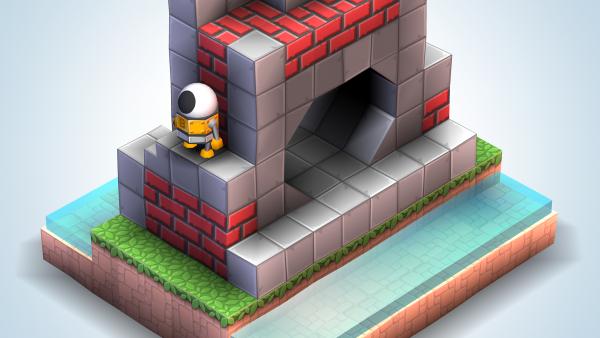 Screenshot: In einem Leveleditor wird ein neues Level mit verschiedenen Bauklötzen zusammengebaut.