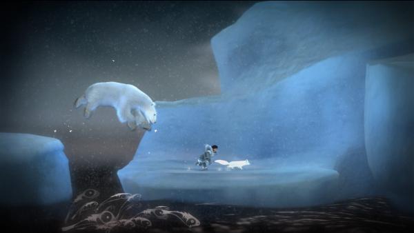 Das Mädchen und der Fuchs flüchten vor einem Eisbären, indem sie von einer Eisscholle hüpfen.