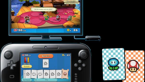 Man sieht die Kampfkarten die auf dem Touchscreen des Controllers zur Verfügung stehen.