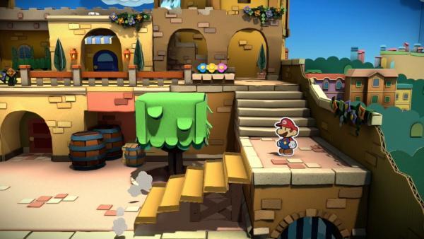 Screenshot: Mario in einer Stadt aus Papier.