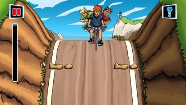 die drei Jugendliche fahren mit dem Rad - Geschicklichkeitsspiel