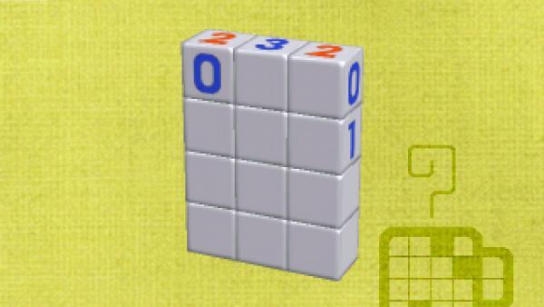 Screenshot: ein Block aus einzelnen Würfeln mit Zahlen darauf