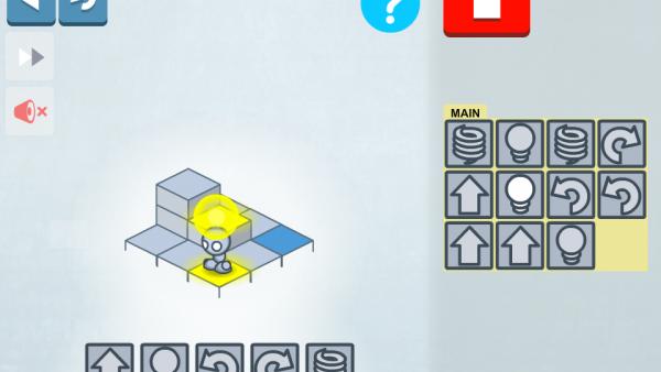 Screenshot: Der kleine Roboter wird hell erleuchtet