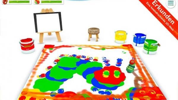 Screenshot: Mit unterschiedlichen Farben zeichnete die Raupe ein Porträt von sich