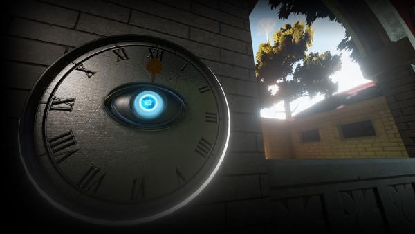 Screenshot: Uhr mit einem Auge