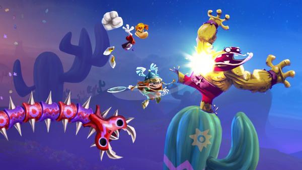 Screenshot: Rayman und Wikingerfrau kämpfen zusammen gegen Monster