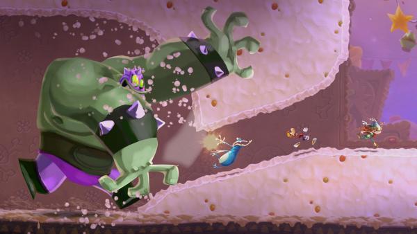 Screenshot: Rayman flieht vor grünem Monster