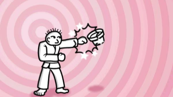 Screenshot: ein Karatemeister kickt Töpfe weg