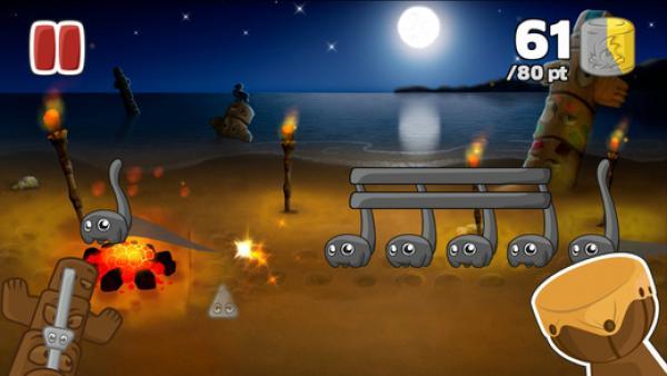 Screenshot: Comic-Noten tanzen über ein Lagerfeuer
