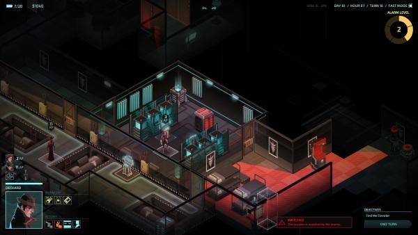 Screenshot: Ansicht einer Agentin beim Durchsuchen eines Gebäudes, der rote Bereich wird überwacht