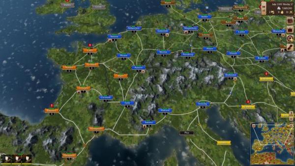Screenshot: Eine Übersichtskarte von Europa mit vernetzten Städten und Handelswegen.
