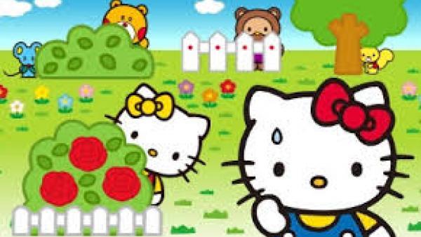 Verschiedene Hello-Kitty-Figuren verstecken sich