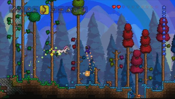 Screenshot: Fantastischer Zauberwald mit roten und grünen Bäumen, ein Einhorn springt gerade