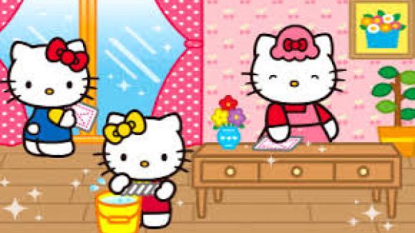Hello Kitty Familie putzt die Wohnung