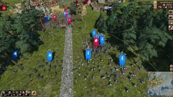 Screenshot: Kampfszenario: Truppen mit Wappen kämpfen gegen andere vor einer Stadt.