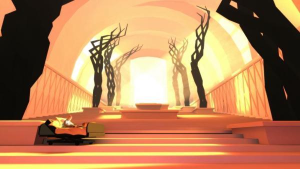 Screenshot: Joel sitzt in einem Krankenhausbett am Eingang des Himmels, der eine lange flache Treppe ist. Am Ende ist Licht.
