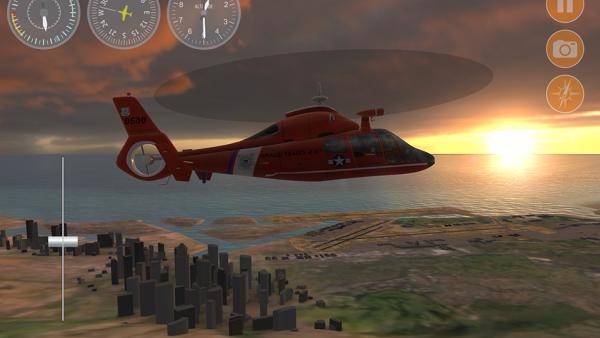 Screenshot: Roter Hubschrauber, der im Sonnenuntergang über eine Stadt fliegt