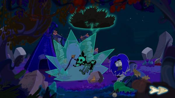 Screenshot: Ungh steht im dunklen Wald, vor ihm ein Geist eines Tieres