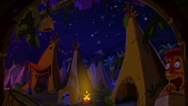 Screenshot: Ungh schläft neben dem Lagerfeuer, um ihn herum lauter Zelte