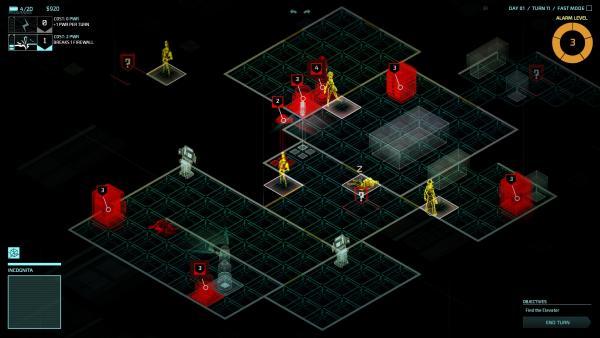 Screenshot: Ansicht mit Incognita, alle roten Gegenstände können gehackt werden, Personen sind gelb dargestellt