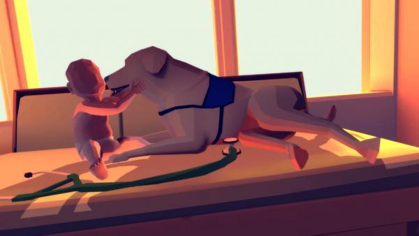 Screenshot: Joel sitzt auf einer Trage und spielt mit einem Hund.