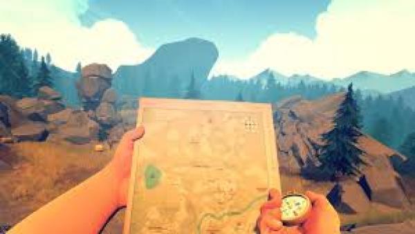 Screenshot: Spielfigur benützt eine Karte und einen Kompass auf einem Berg.