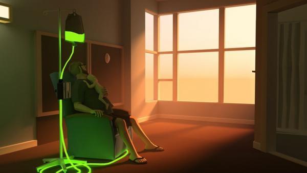 Screenshot: Joel mit Ryan bei einer Chemotherapie.