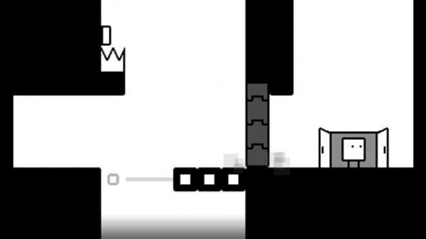 Screenshot: Ansicht eines schwierigen Levels, welches Qbby durch eine Tür betritt