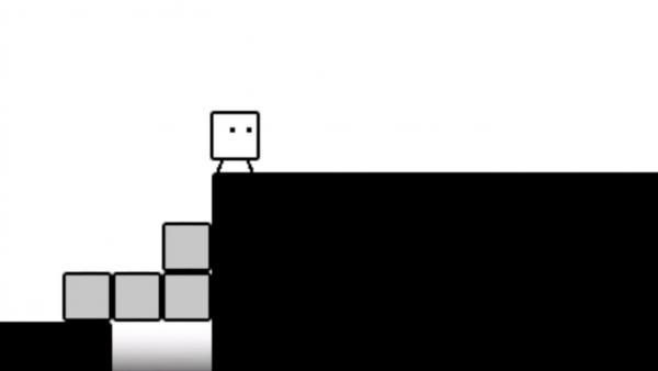 Screenshot: Qbby hat einen Abgrund mit 4 Boxen überwunden