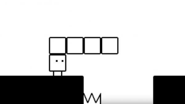 Screenshot: Qbby hat 4 Boxen erzeugt, um einen Abgrund zu überwinden