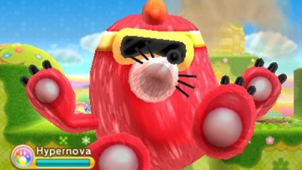 """Screenshot von """"Kirby: Triple Deluxe"""" zeigt einen roten Maulwurf-Gegner mit  gelber Brille, der innen gegen das Display geschleudert wurde und sich dort auf lustige Art und Weise festhält"""