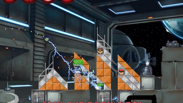 Screenshot. Ein fliegendes Darth Sidious Schwein schießt mit Blitzen
