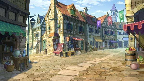 Straße in Labyrinthia mit einigen Marktständen