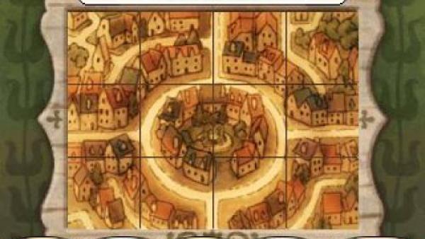 Rätsel, bei dem eine beschädigte Karte von Labyrinthia wieder vervollständigt werden muss
