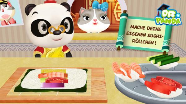 Dr. Panda beim Zubereiten von Sushi