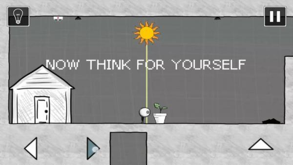 Screenshot: Eine 2D-Ansicht eines Hauses, Sonne und eine Figur mit einer Pflanze; alles im Comicstil.