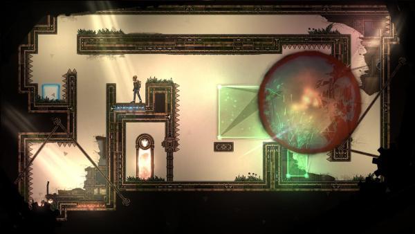 Screenshot: Im Level sieht man einen große rote Kugel. Die Spielfigur steht auf einem Schalter.
