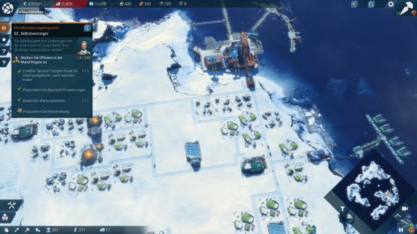 Screenshot: Erschließung der Arktis mit vielen Fabriken, die Wärme liefern.
