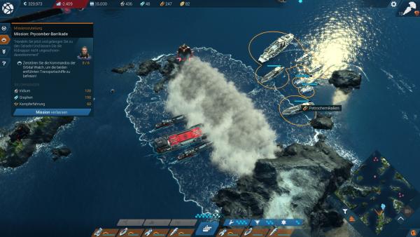 Screenshot: Kampf am offenen Meer mittels Kampfschiffen.