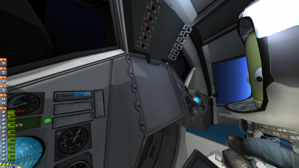 Der Screenshot zeigt einen Kerbal im Cockpit.