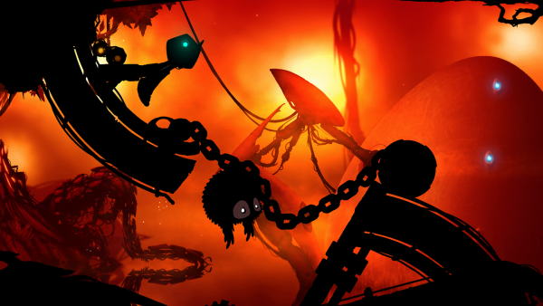 Die Spielfigur ist vergrößert und muss eine Kette mit angehängter Kugel überwinden.