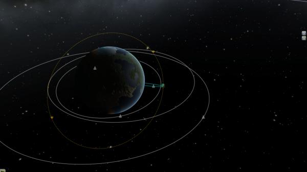 Flugobjekte und ihre Flugbahnen rund um den Planeten Kerbin.