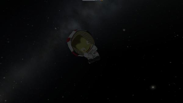 Ein Kerbal flieg im Weltraum.