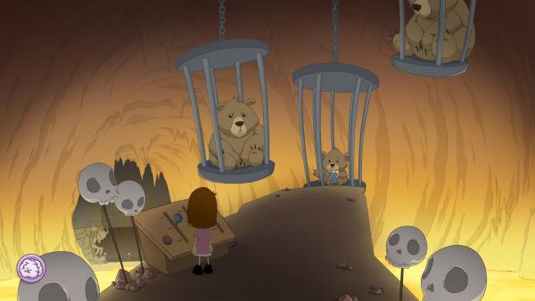 Screenshot: Bären sind in hängenden Käfigen gefangen.