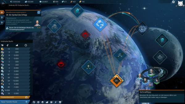 Screenshot: Übersichtskarte über die drei Inselwelten und bestehende Handelsrouten.