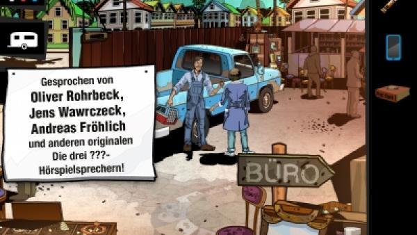 screenshot: In der Mitte eines Schrottplatzes unterhalten sich zwei Personen.