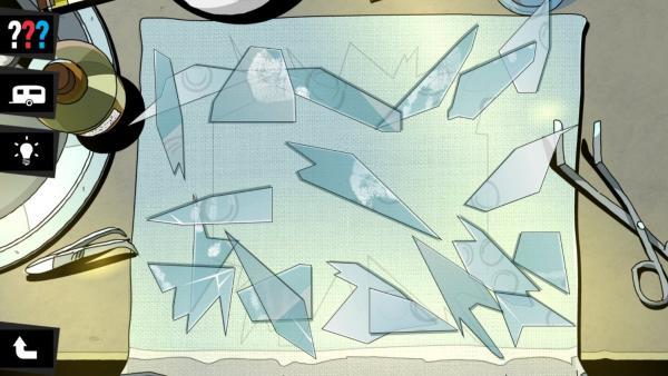 screenshot: Glasscherben auf einem Tuch.