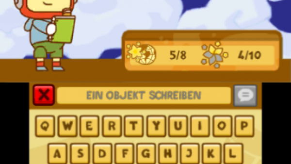 """Screenshot von """"Scribblenauts Unlimited"""" mit einem Zeichentrickmännchen und einer Computertastatur"""