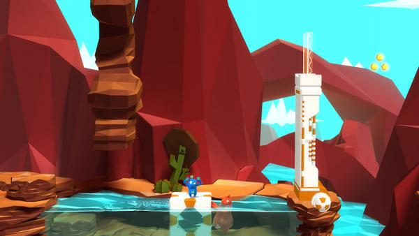 Plom und Bismo in bunter Spielwelt von Wasser umgeben